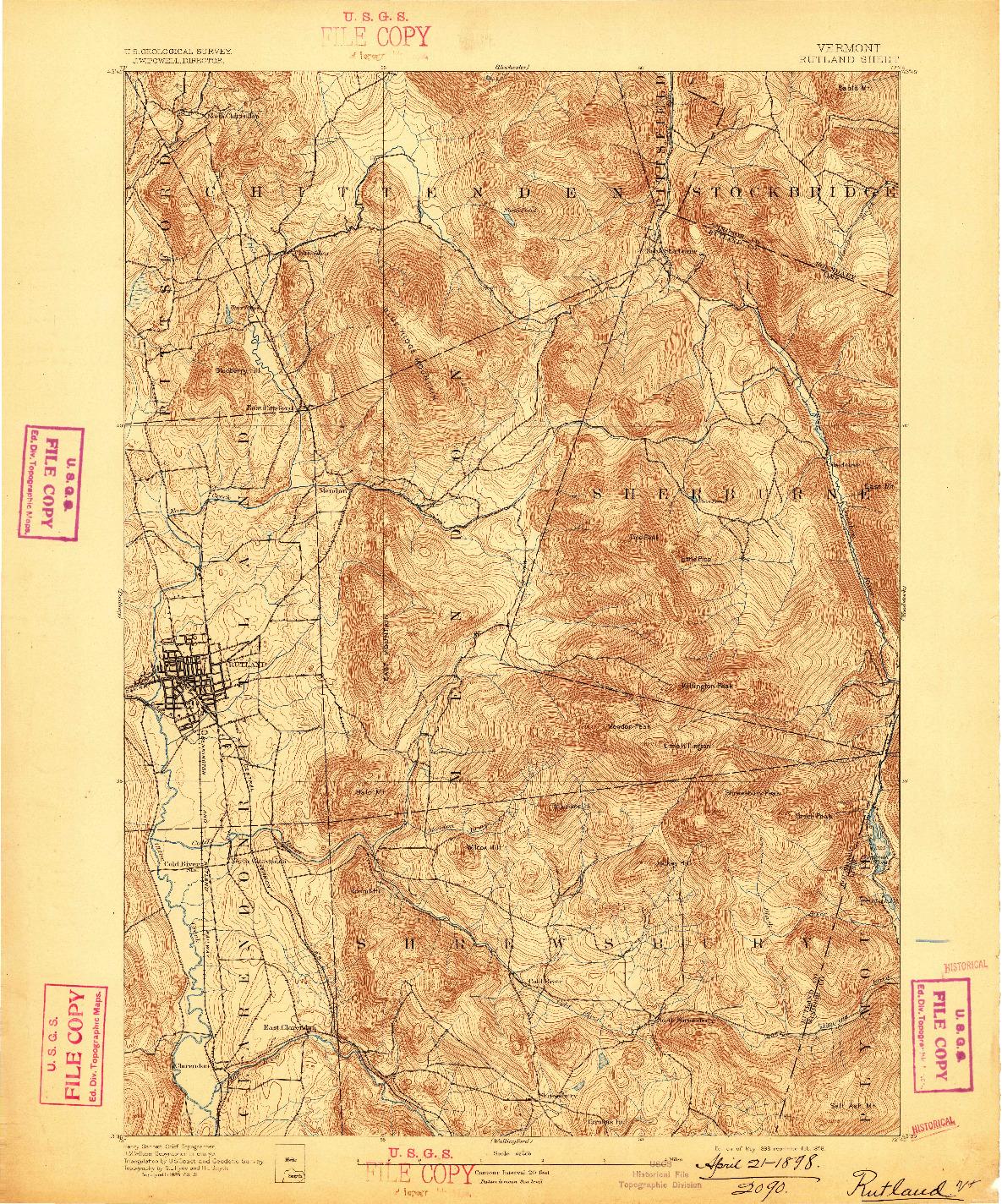 USGS 1:62500-SCALE QUADRANGLE FOR RUTLAND, VT 1893