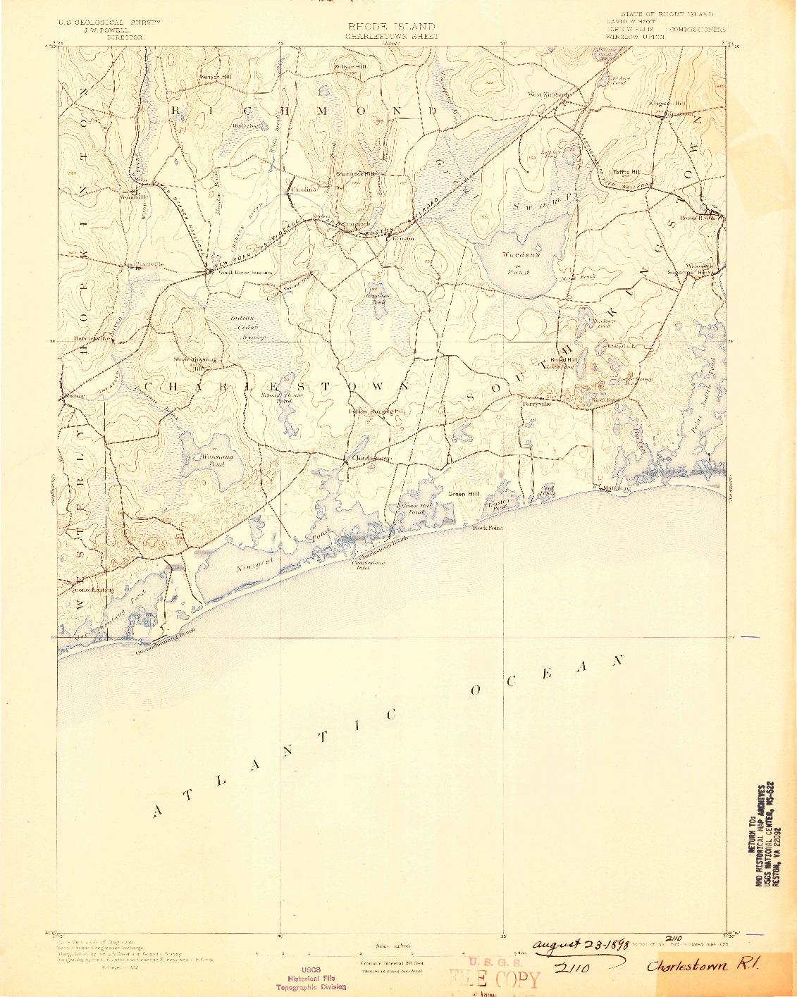USGS 1:62500-SCALE QUADRANGLE FOR CHARLESTOWN, RI 1889