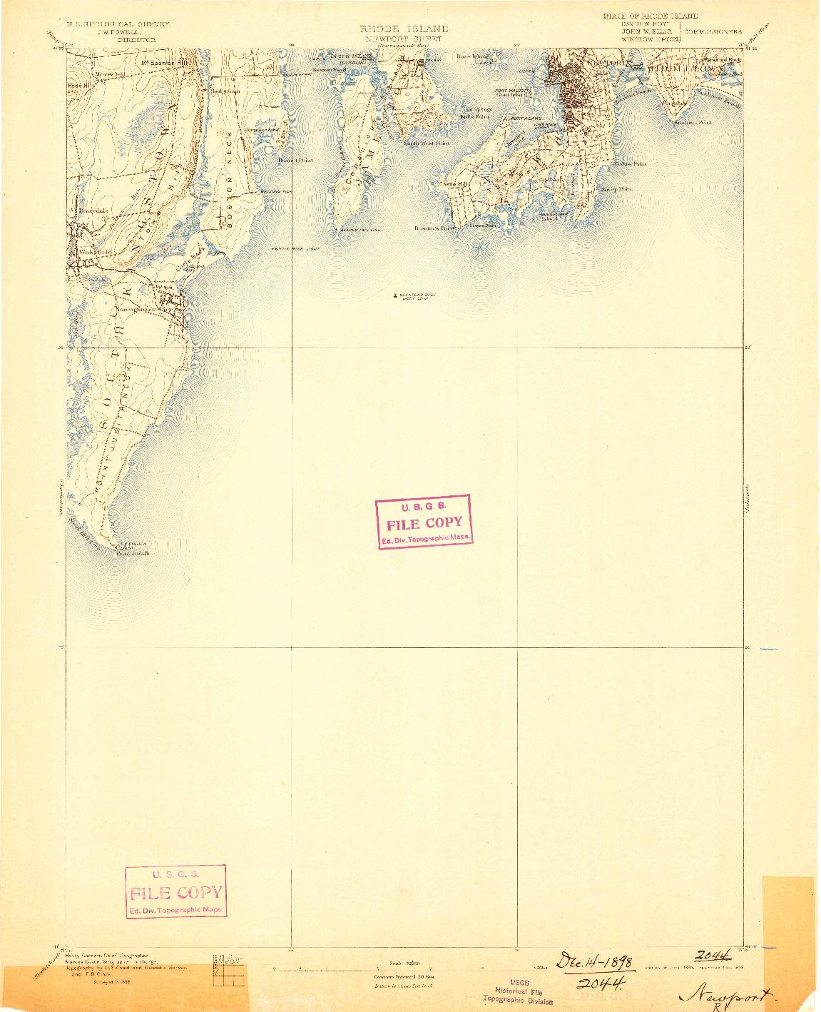 USGS 1:62500-SCALE QUADRANGLE FOR NEWPORT, RI 1894
