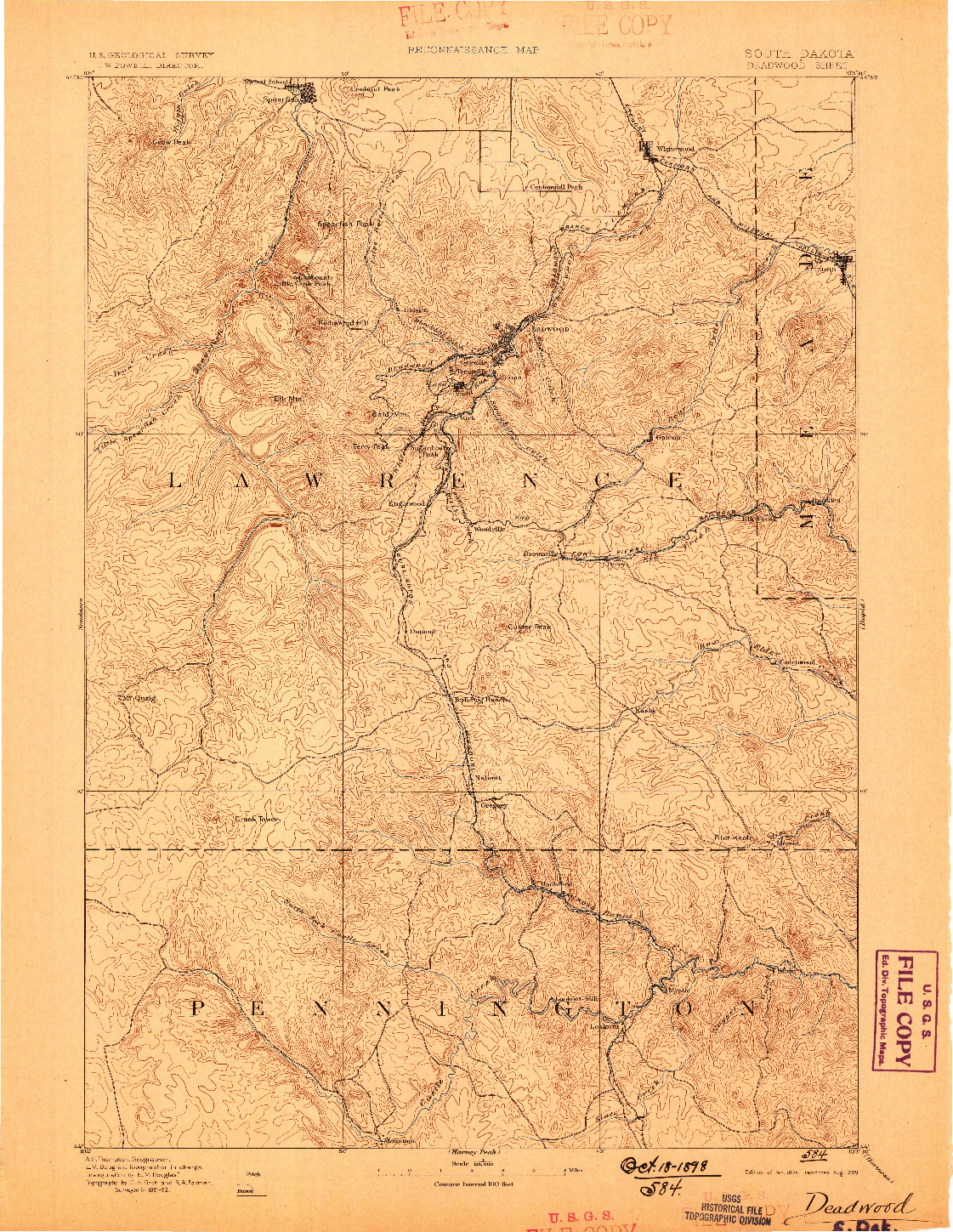 USGS 1:125000-SCALE QUADRANGLE FOR DEADWOOD, SD 1894