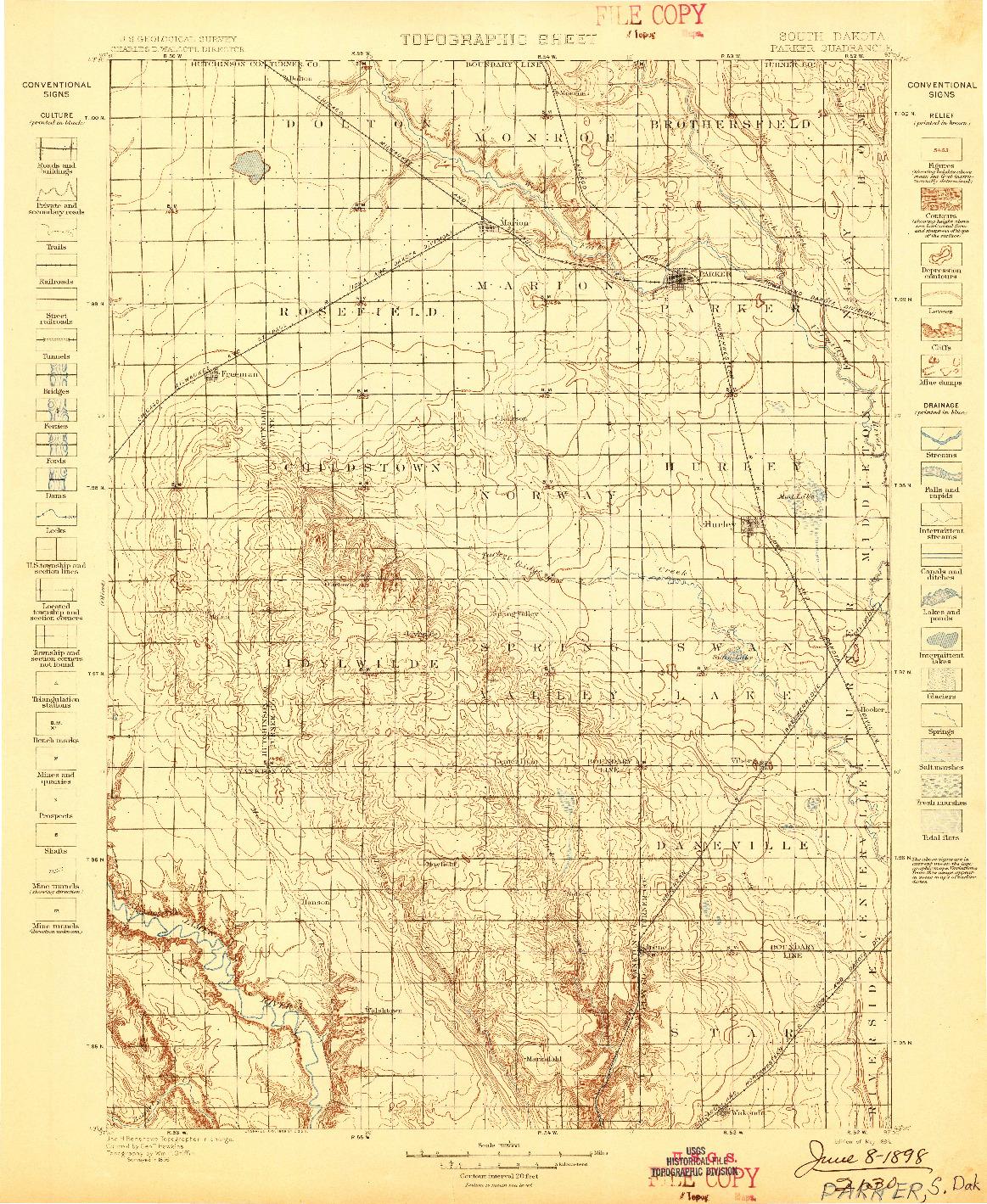 USGS 1:125000-SCALE QUADRANGLE FOR PARKER, SD 1898
