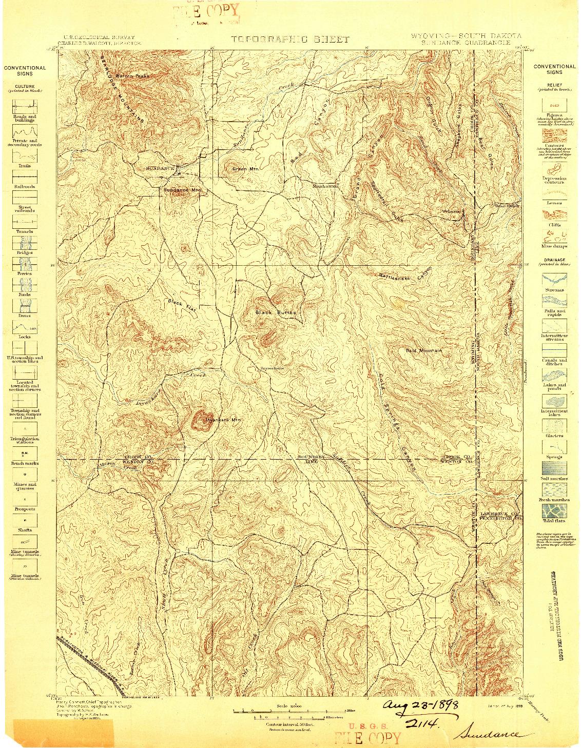 USGS 1:125000-SCALE QUADRANGLE FOR SUNDANCE, WY 1898