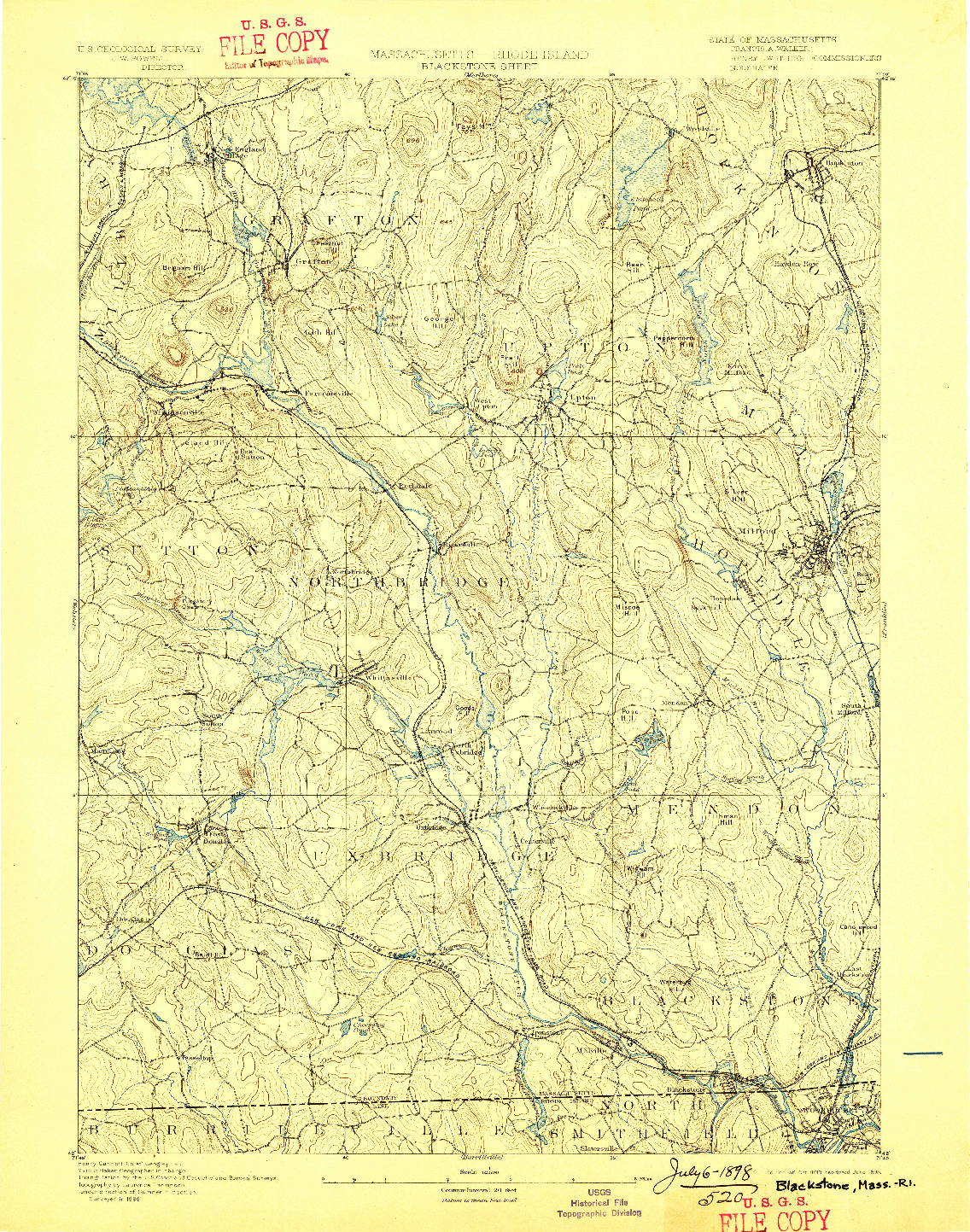 USGS 1:62500-SCALE QUADRANGLE FOR BLACKSTONE, MA 1893