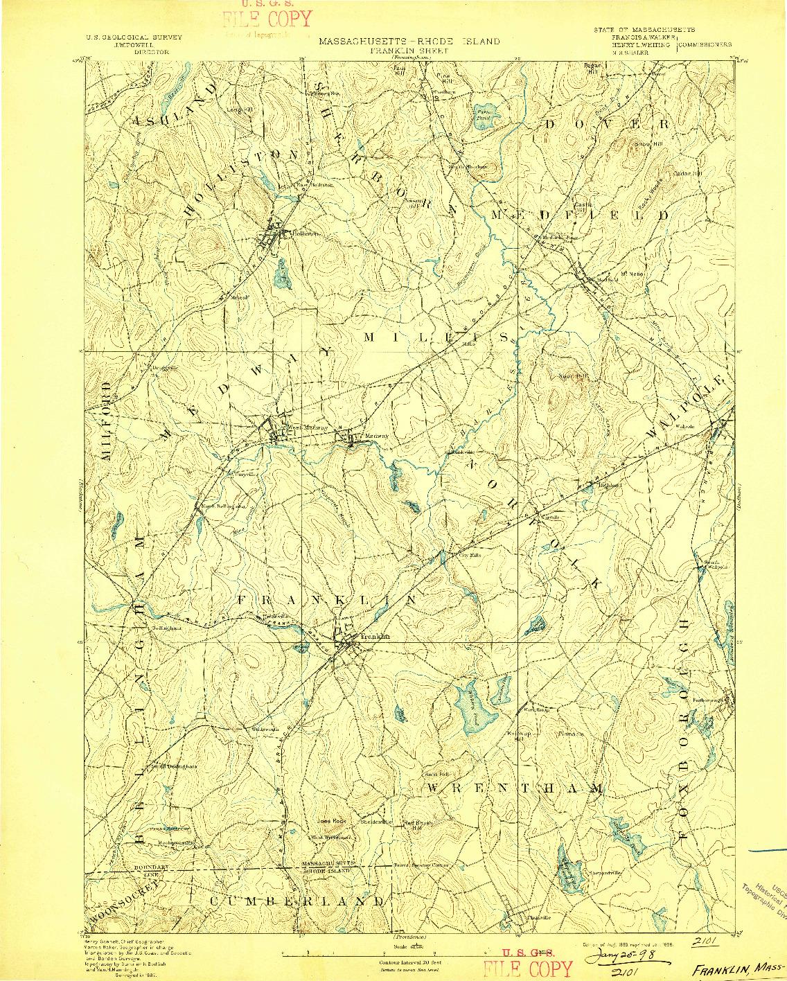 USGS 1:62500-SCALE QUADRANGLE FOR FRANKLIN, MA 1893