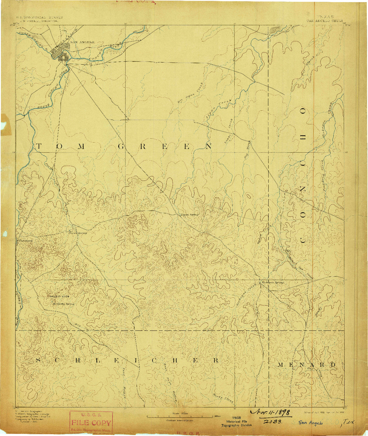 USGS 1:125000-SCALE QUADRANGLE FOR SAN ANGELO, TX 1892