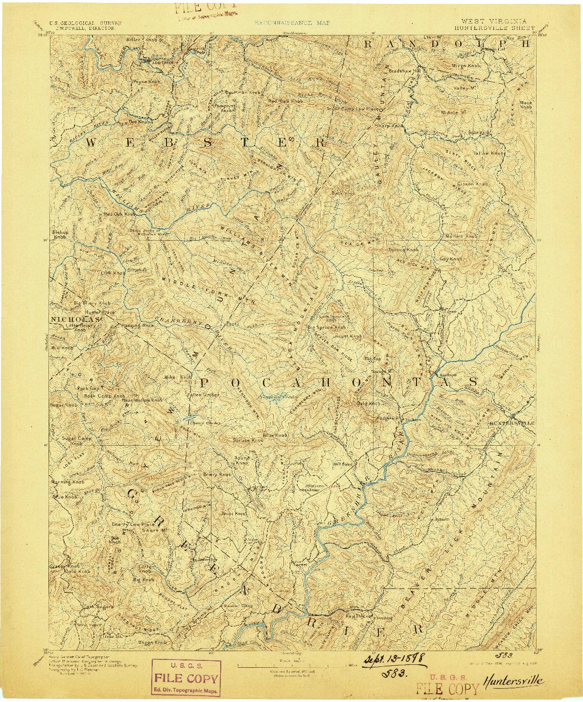 USGS 1:125000-SCALE QUADRANGLE FOR HUNTERSVILLE, WV 1894