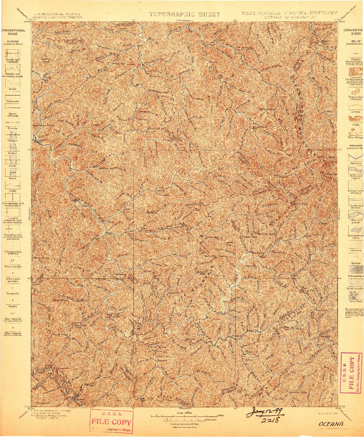 USGS 1:125000-SCALE QUADRANGLE FOR OCEANA, WV 1898