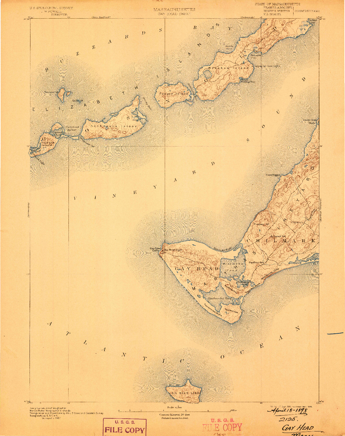 USGS 1:62500-SCALE QUADRANGLE FOR GAY HEAD, MA 1893