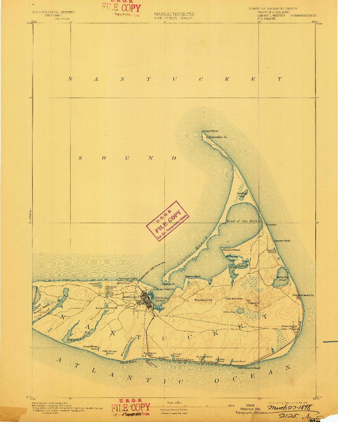 USGS 1:62500-SCALE QUADRANGLE FOR NANTUCKET, MA 1893