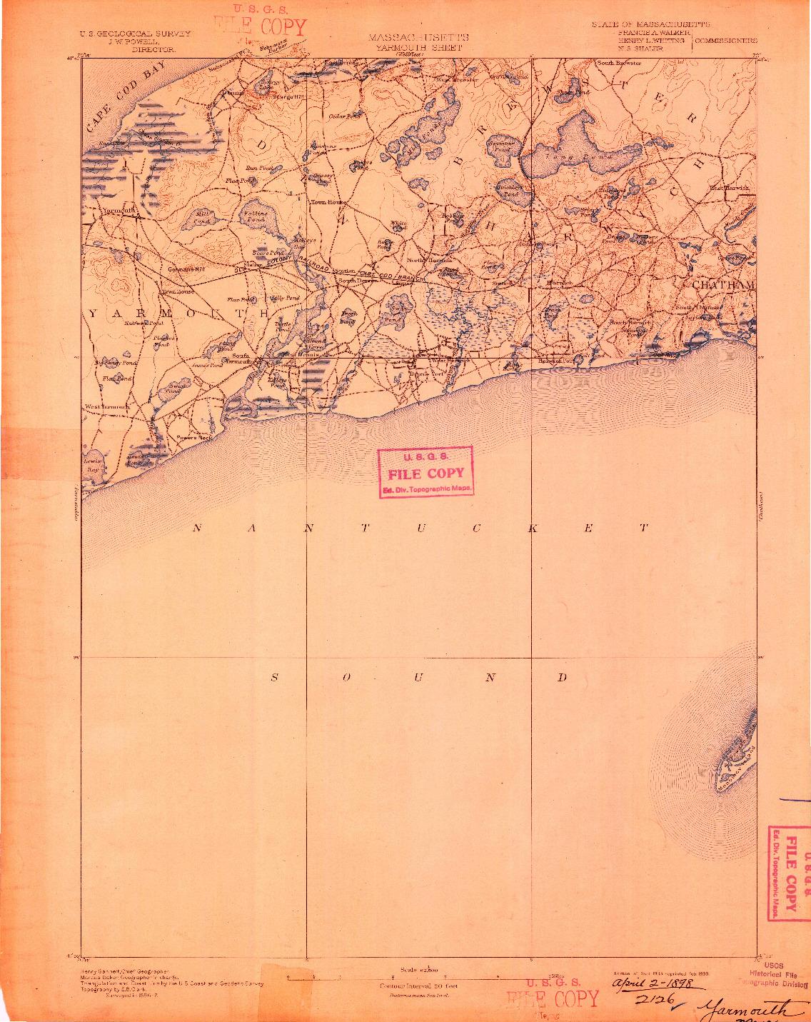USGS 1:62500-SCALE QUADRANGLE FOR YARMOUTH, MA 1893