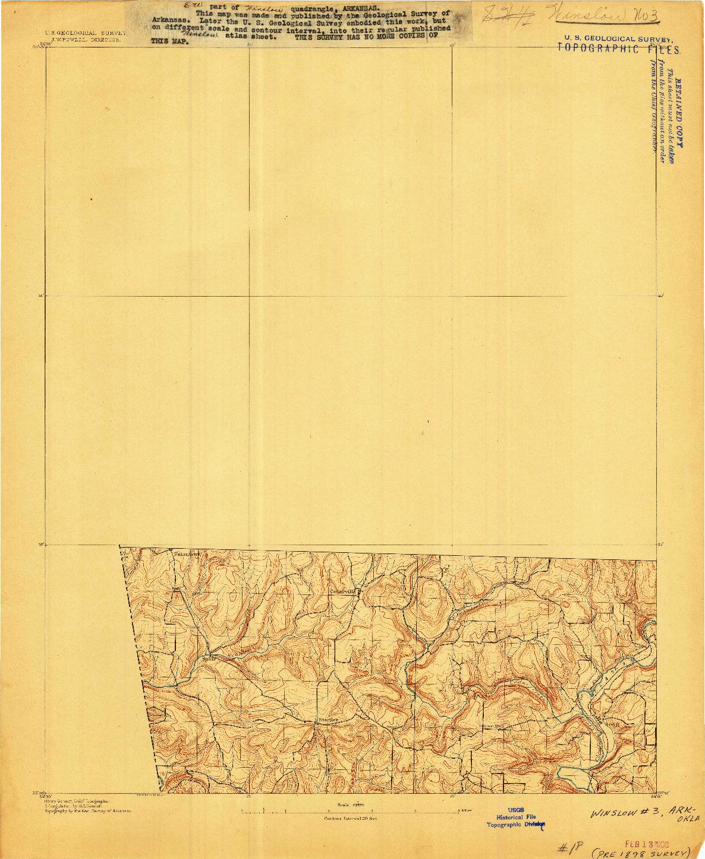 USGS 1:62500-SCALE QUADRANGLE FOR WINSLOW #3, AR 1898