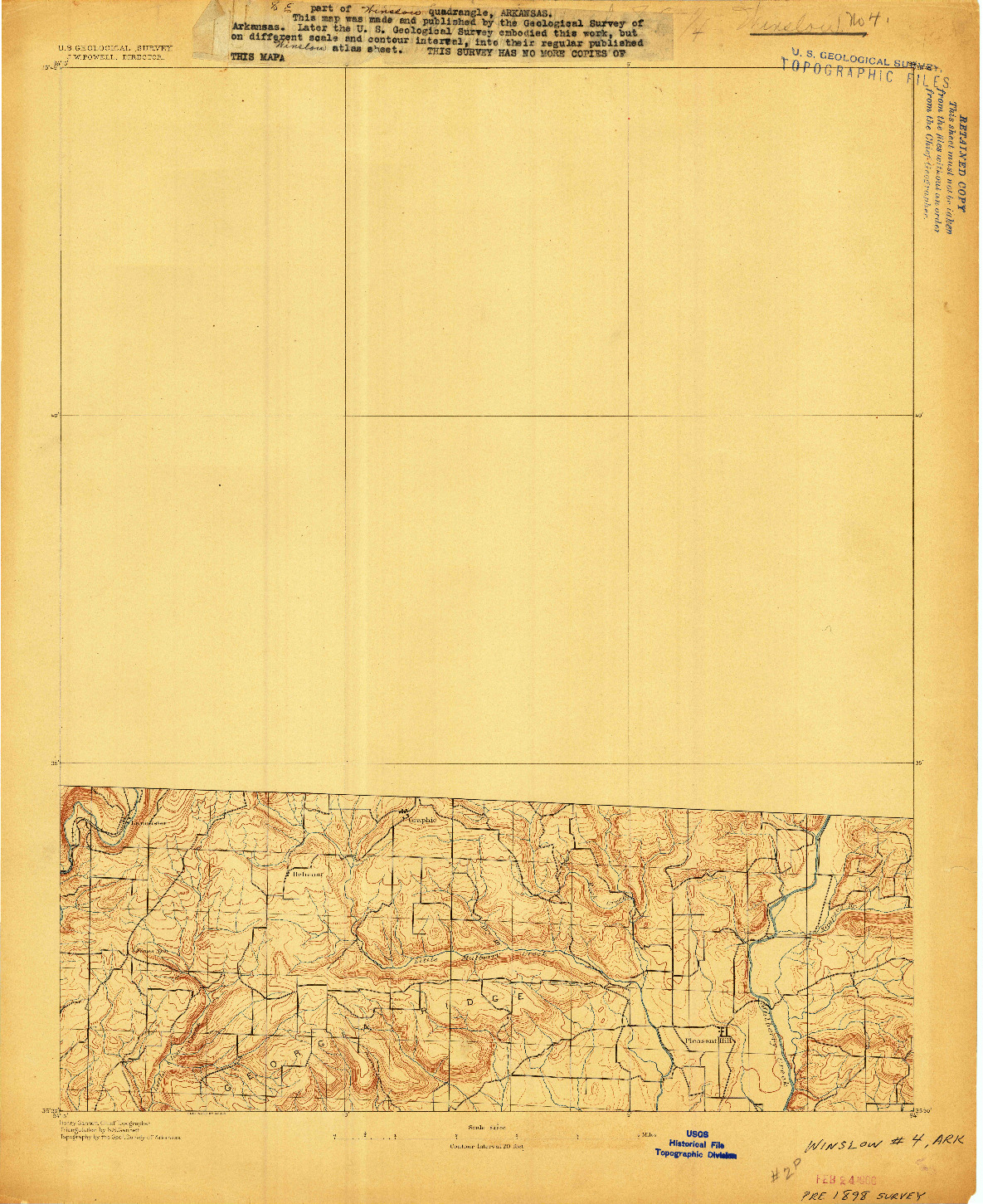 USGS 1:62500-SCALE QUADRANGLE FOR WINSLOW #4, AR 1898