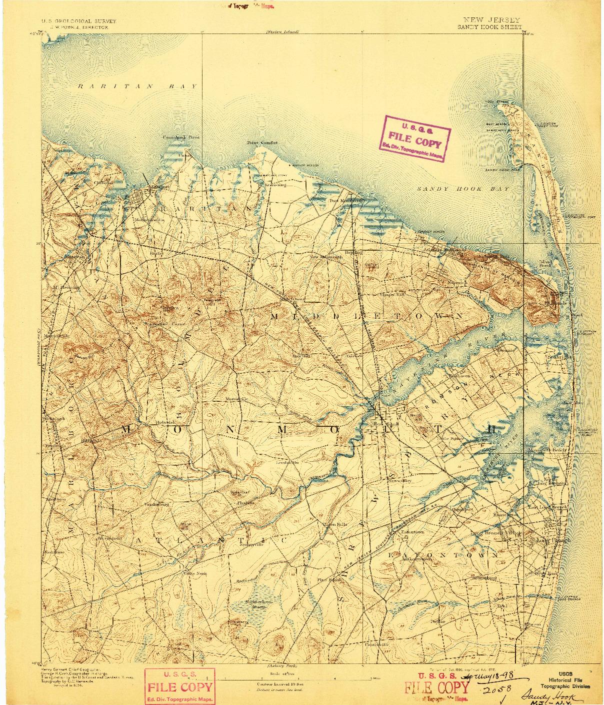 USGS 1:62500-SCALE QUADRANGLE FOR SANDY HOOK, NJ 1893