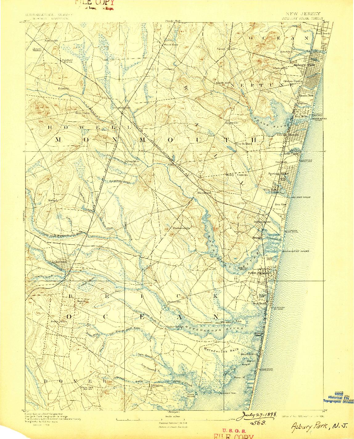 USGS 1:62500-SCALE QUADRANGLE FOR ASBURY PARK, NJ 1893