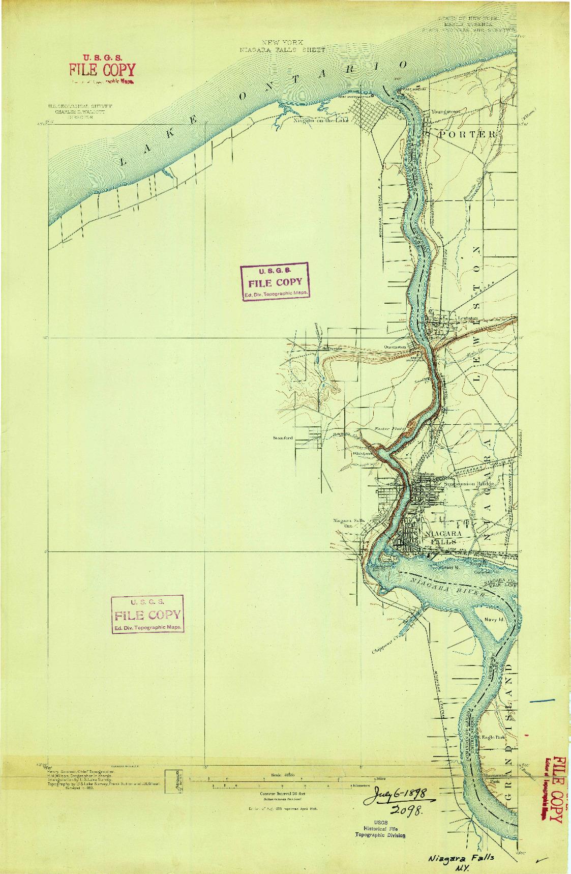 USGS 1:62500-SCALE QUADRANGLE FOR NIAGARA FALLS, NY 1896