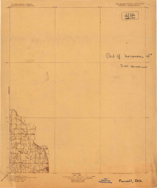 USGS 1:125000-SCALE QUADRANGLE FOR PURCELL, OK 1898