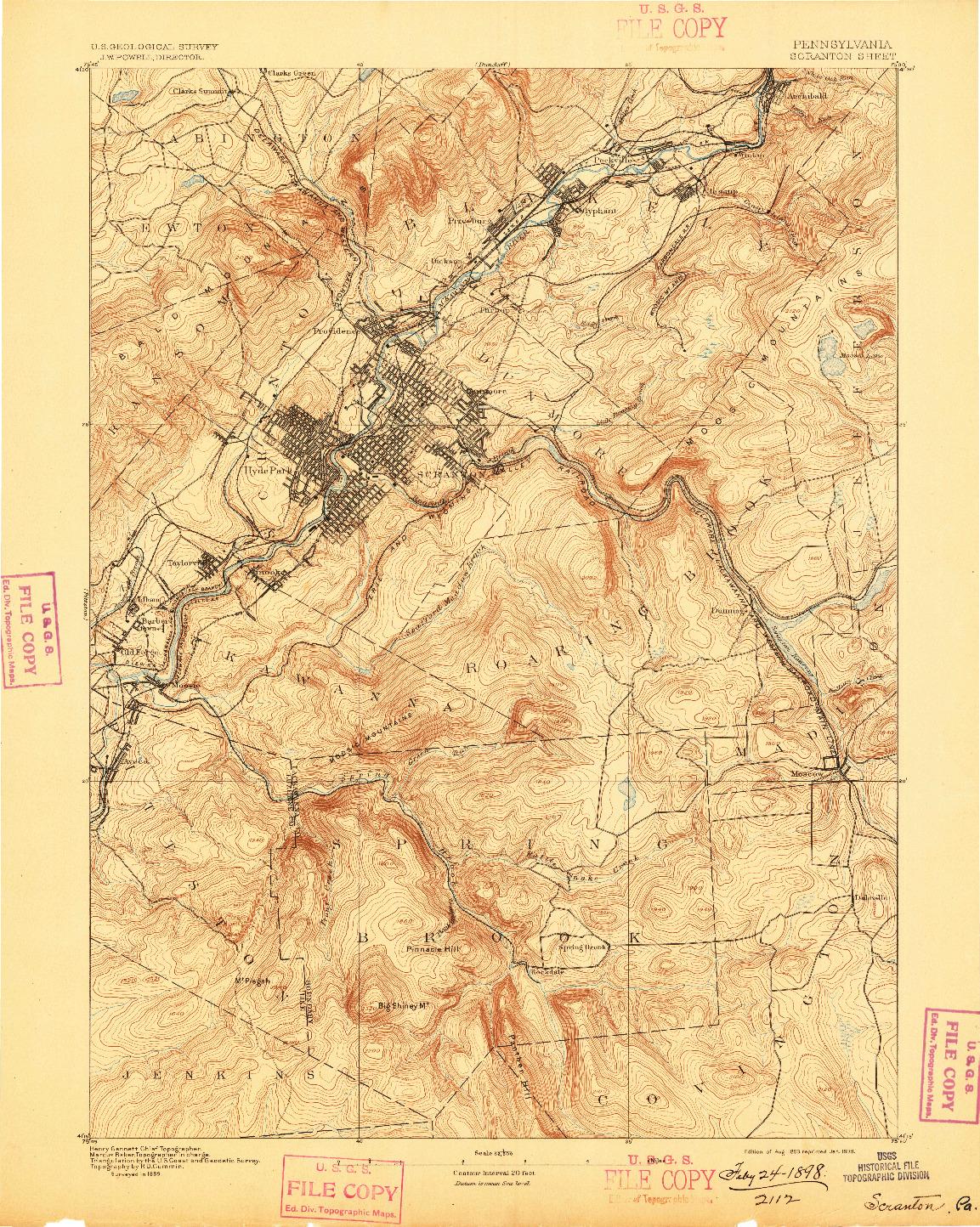 USGS 1:62500-SCALE QUADRANGLE FOR SCRANTON, PA 1893