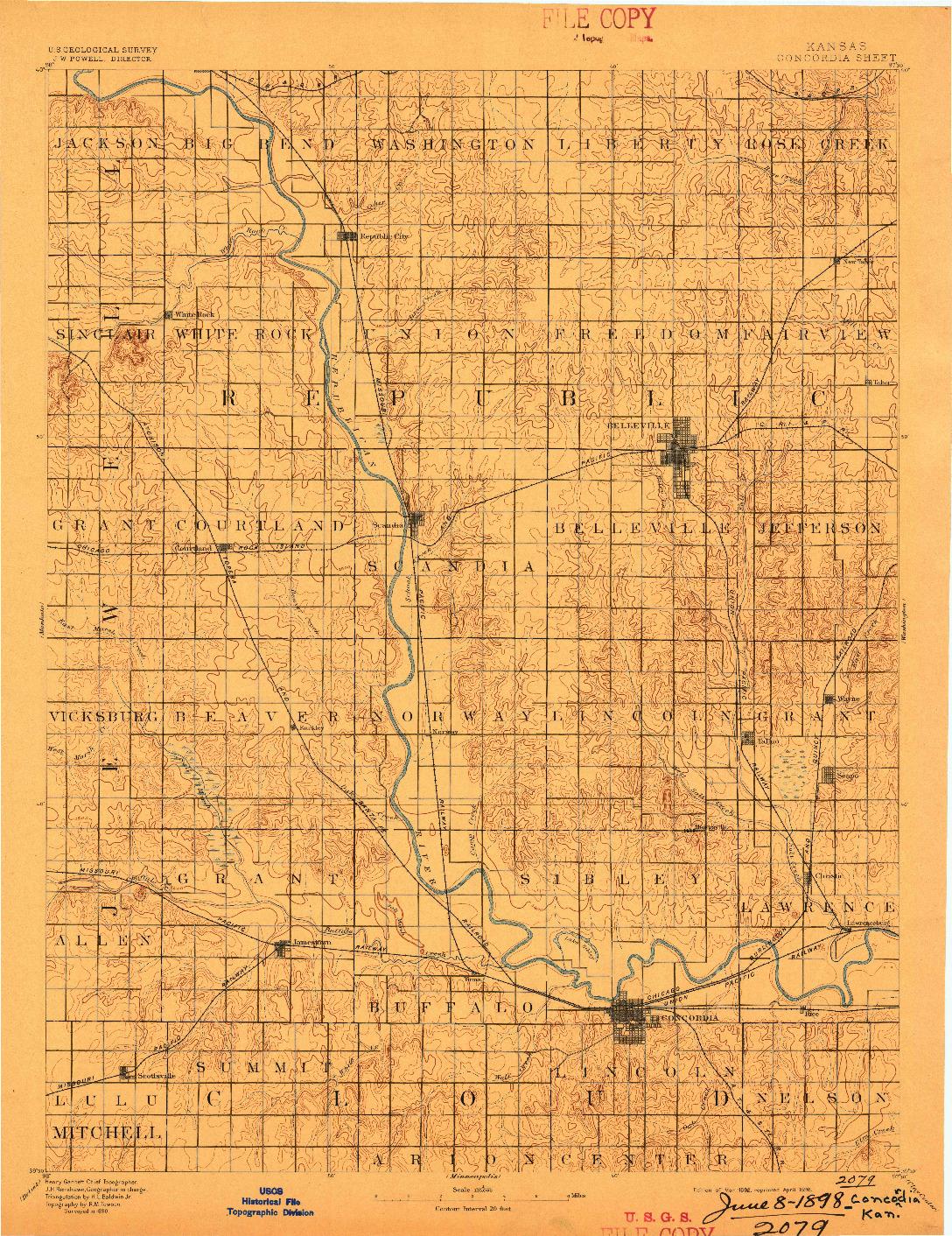 USGS 1:125000-SCALE QUADRANGLE FOR CONCORDIA, KS 1892