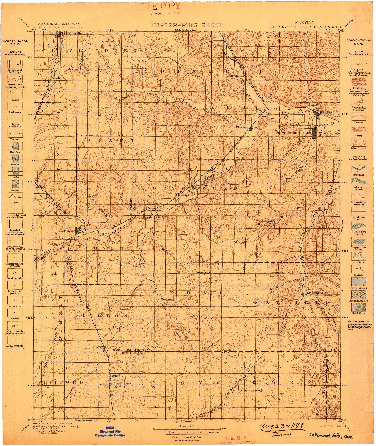 USGS 1:125000-SCALE QUADRANGLE FOR COTTONWOOD FALLS, KS 1898