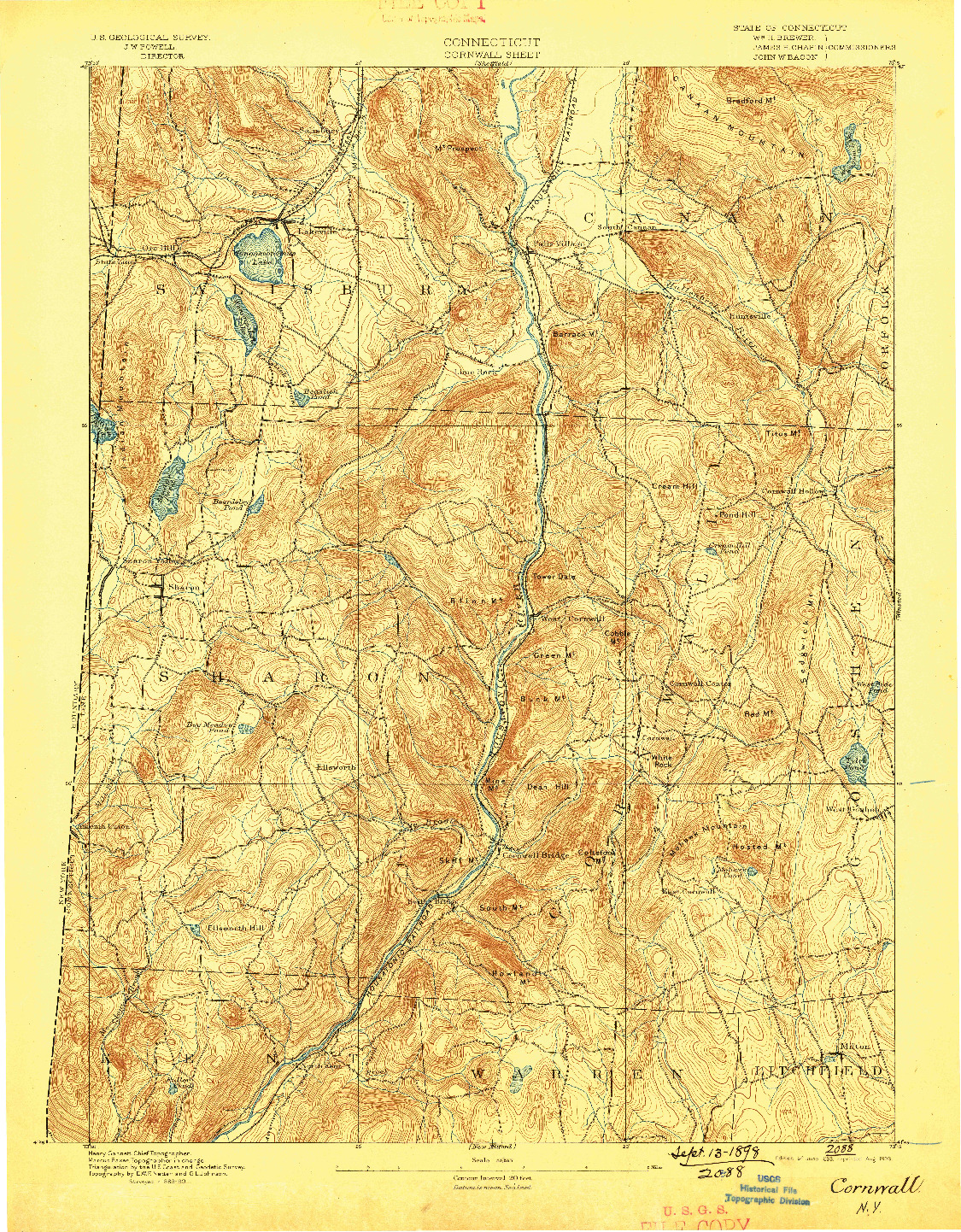 USGS 1:62500-SCALE QUADRANGLE FOR CORNWALL, CT 1893