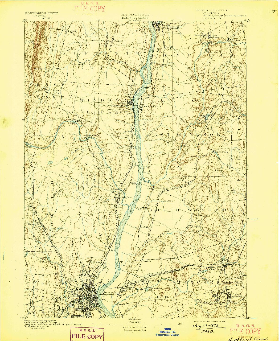 USGS 1:62500-SCALE QUADRANGLE FOR HARTFORD, CT 1892