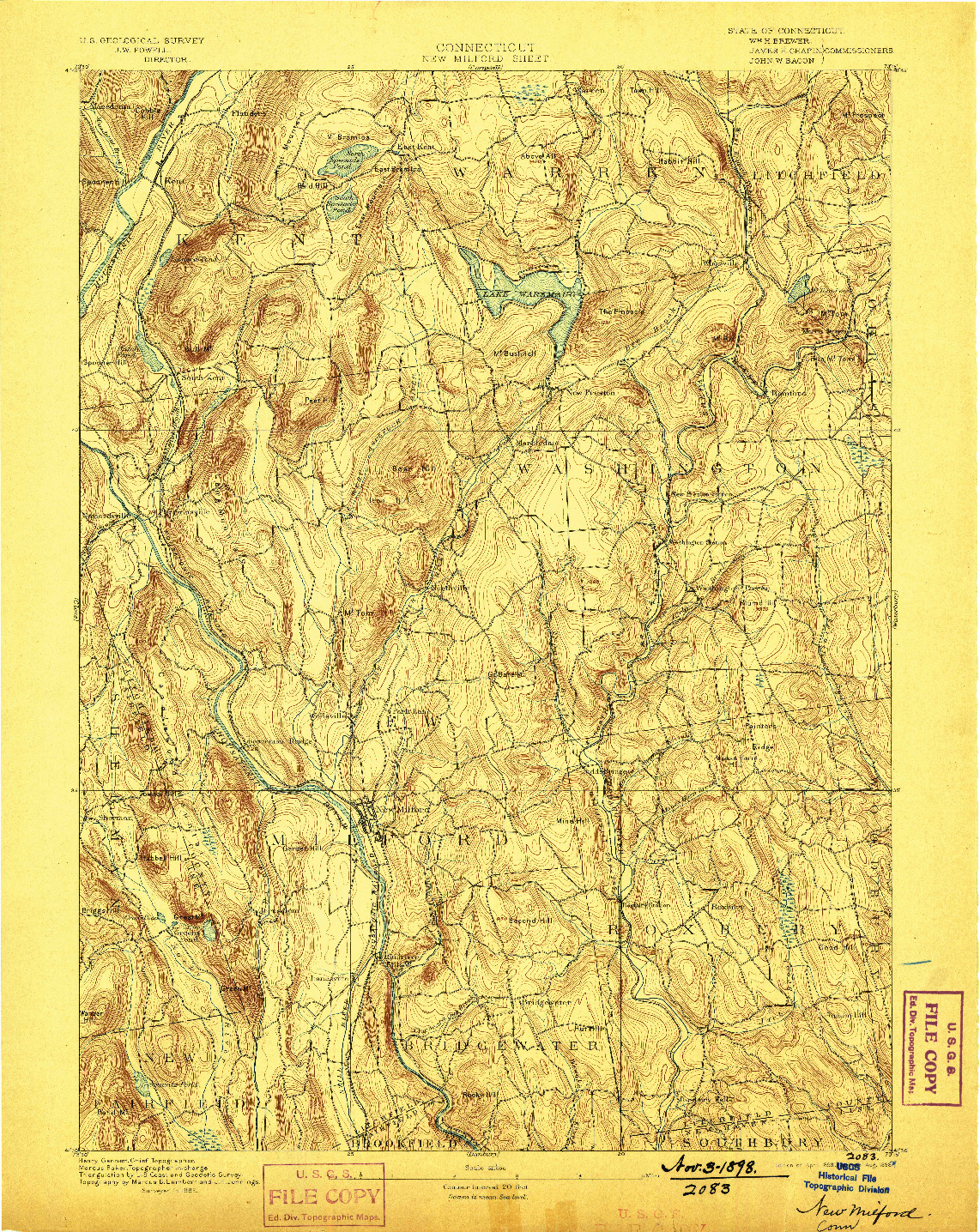 USGS 1:62500-SCALE QUADRANGLE FOR NEW MILFORD, CT 1893