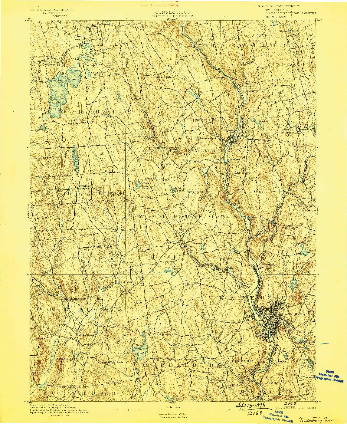 USGS 1:62500-SCALE QUADRANGLE FOR WATERBURY, CT 1893