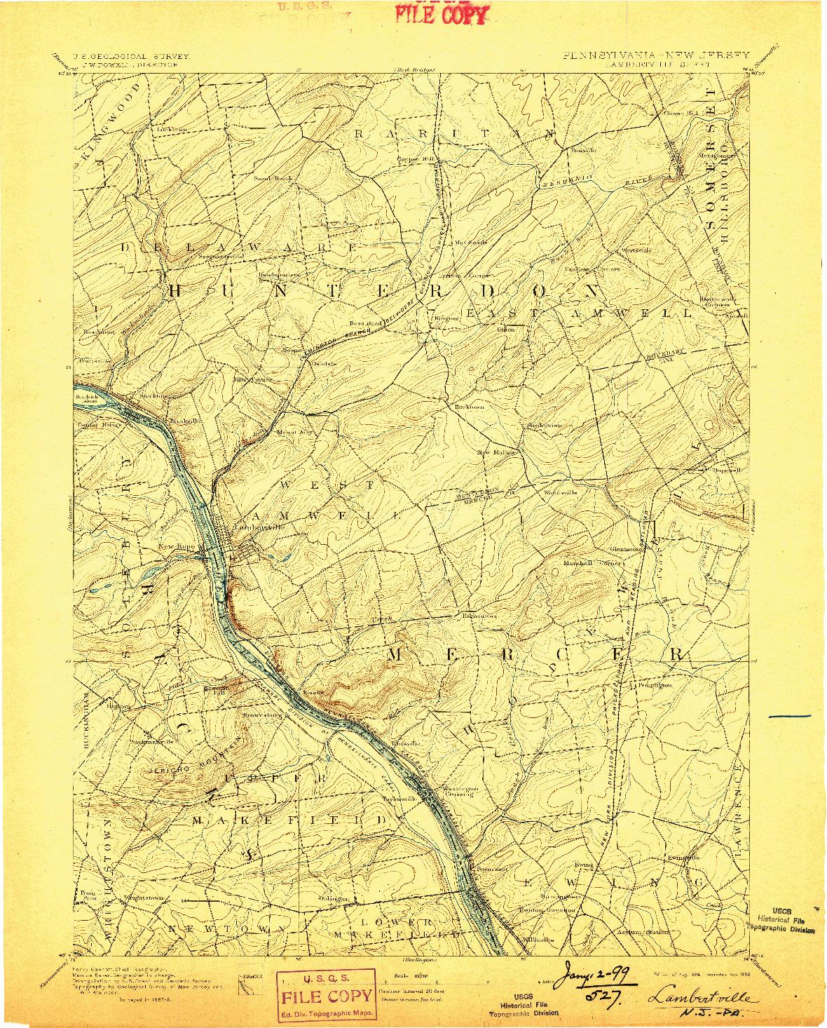 USGS 1:62500-SCALE QUADRANGLE FOR LAMBERTVILLE, NJ 1894