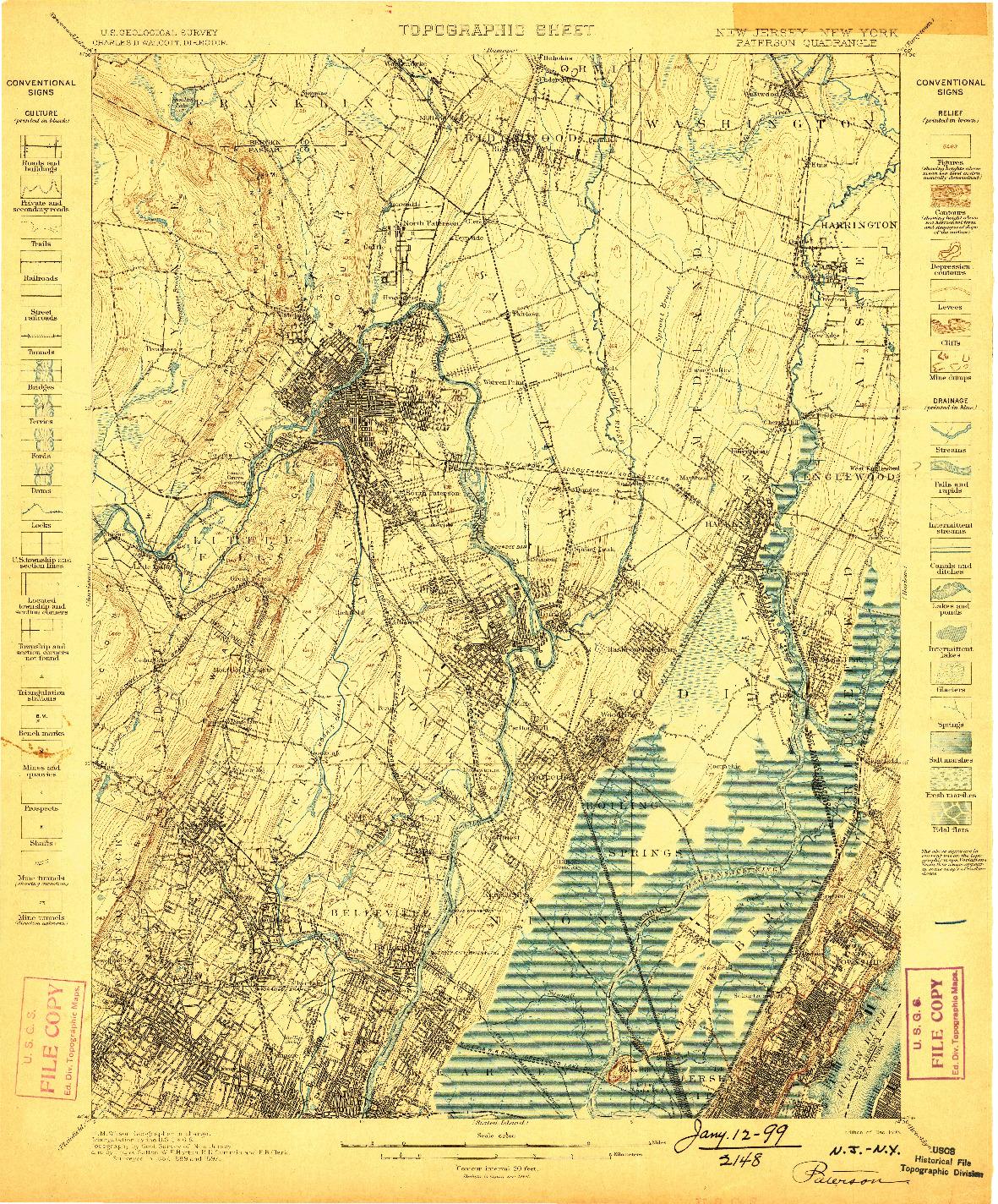 USGS 1:62500-SCALE QUADRANGLE FOR PATERSON, NJ 1898