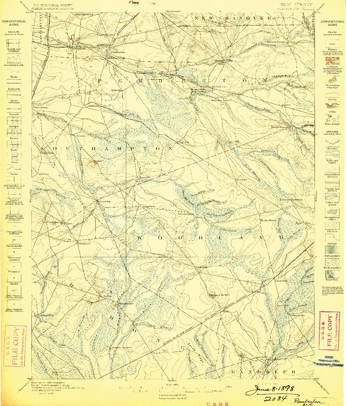 USGS 1:62500-SCALE QUADRANGLE FOR PEMBERTON, NJ 1898