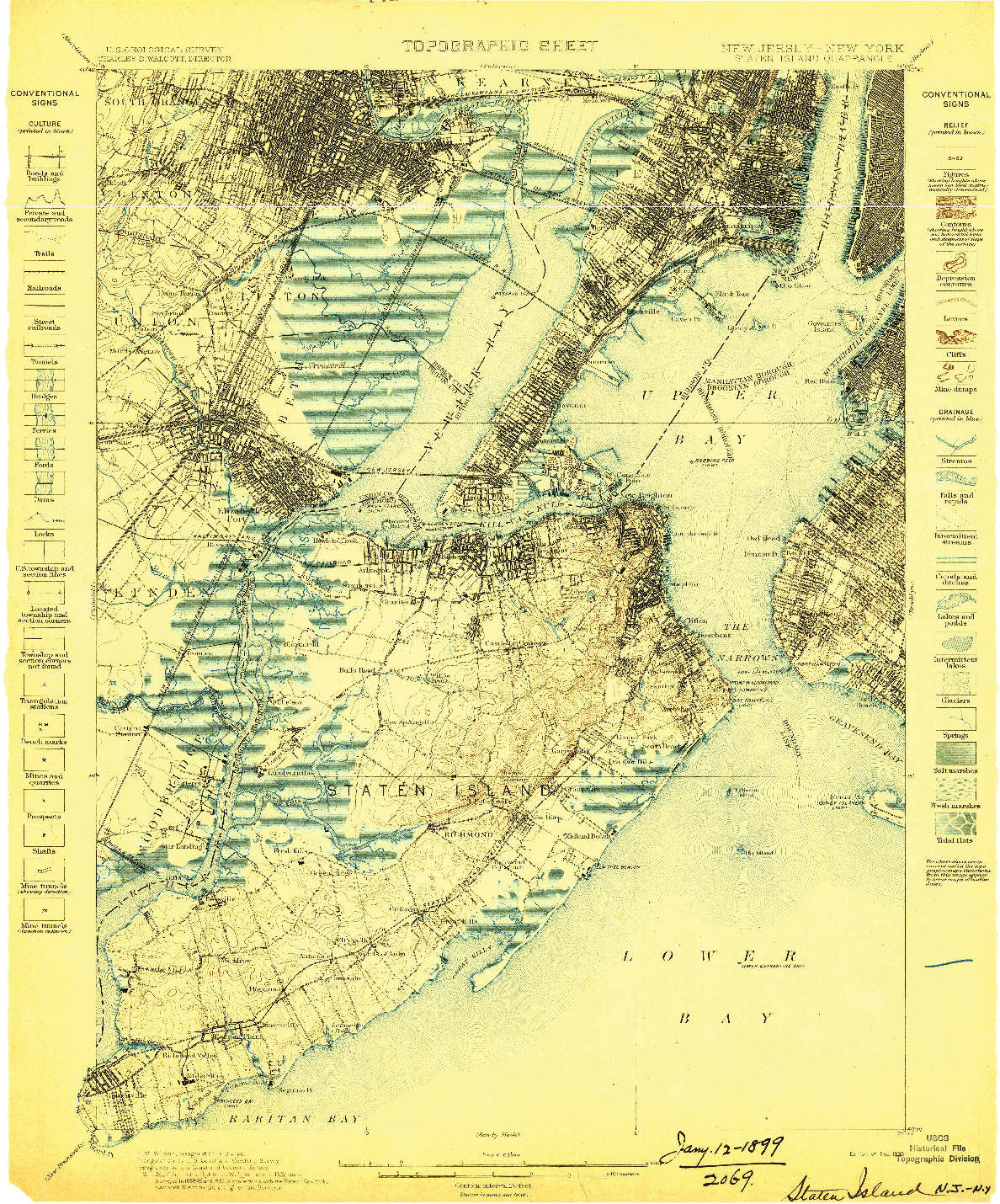USGS 1:62500-SCALE QUADRANGLE FOR STATEN ISLAND, NJ 1898
