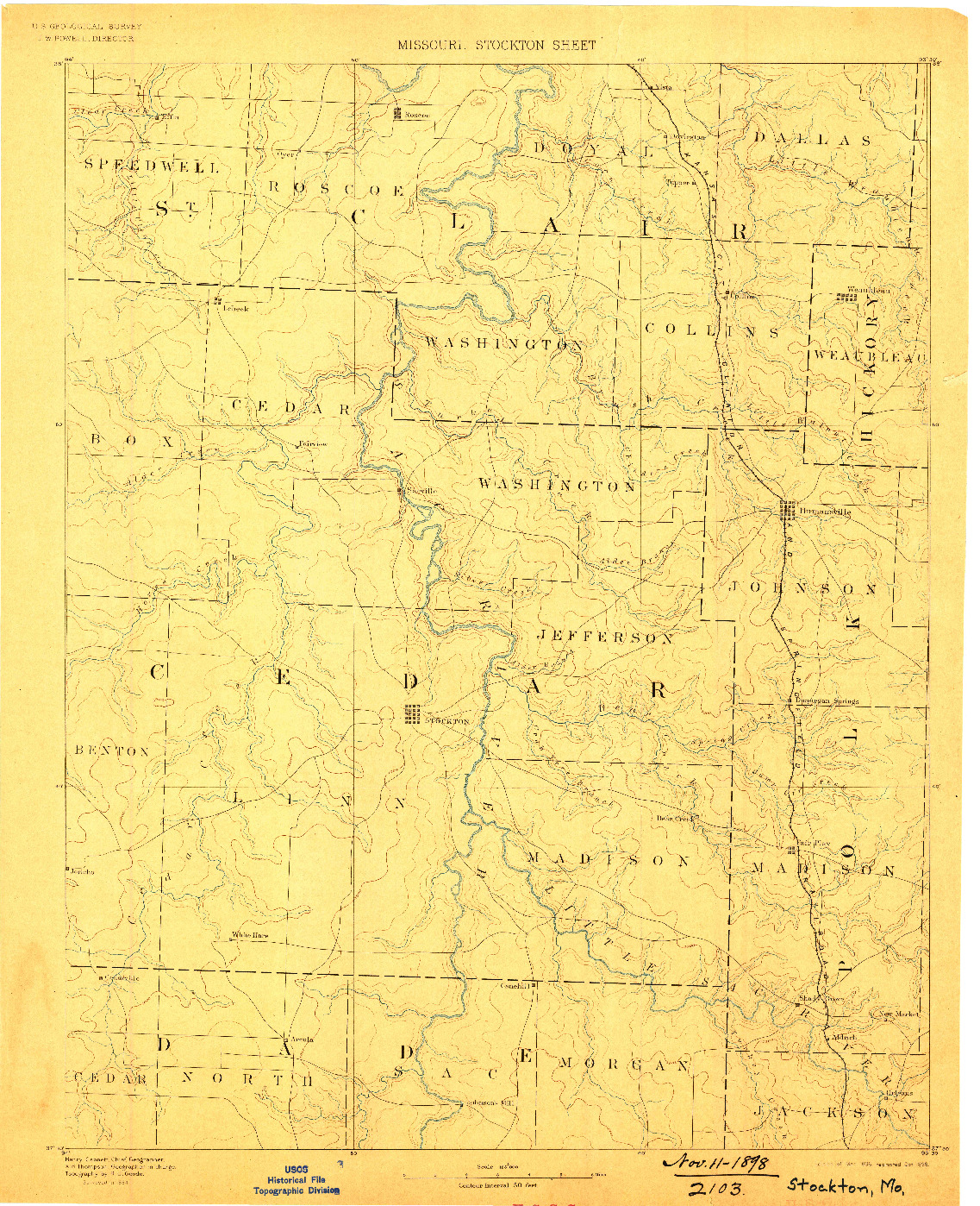 USGS 1:125000-SCALE QUADRANGLE FOR STOCKTON, MO 1886