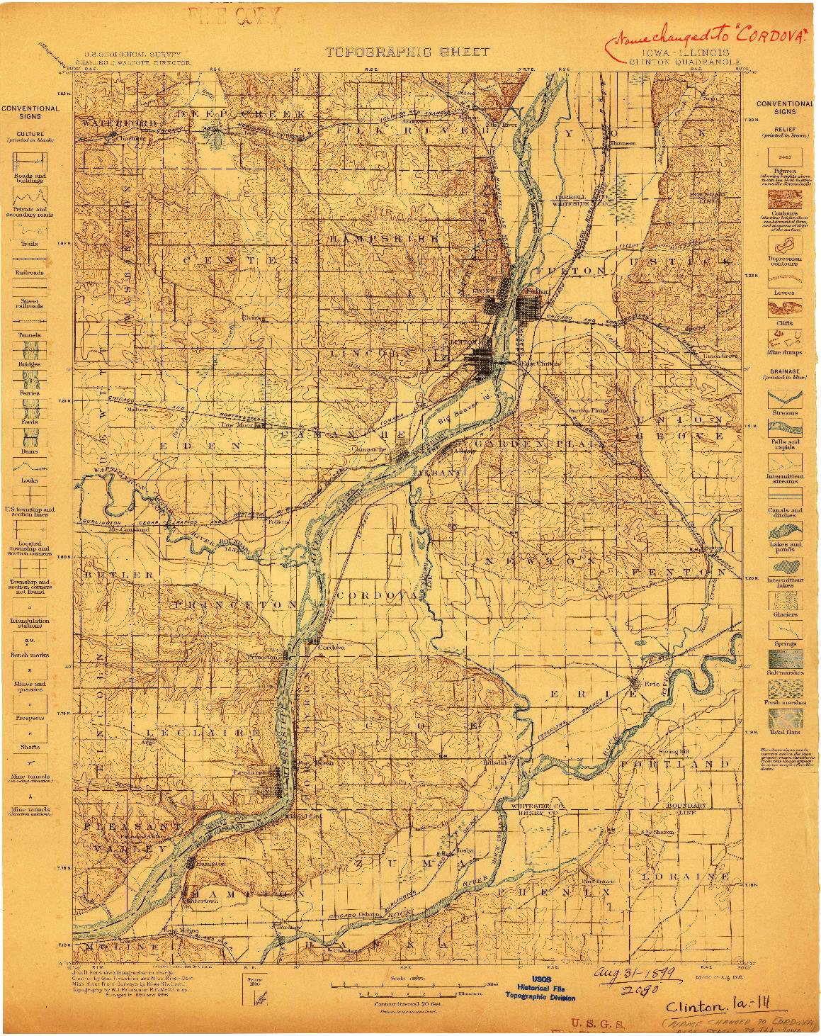 USGS 1:125000-SCALE QUADRANGLE FOR CLINTON, IA 1899