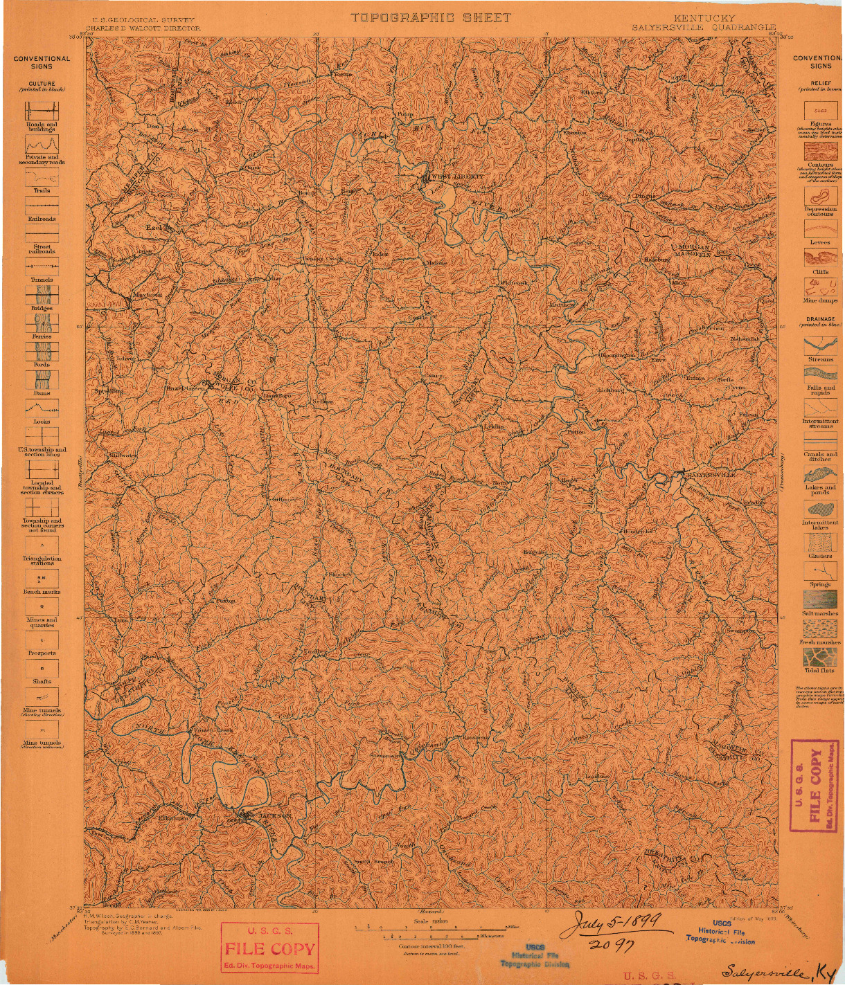 USGS 1:125000-SCALE QUADRANGLE FOR SALYERSVILLE, KY 1899