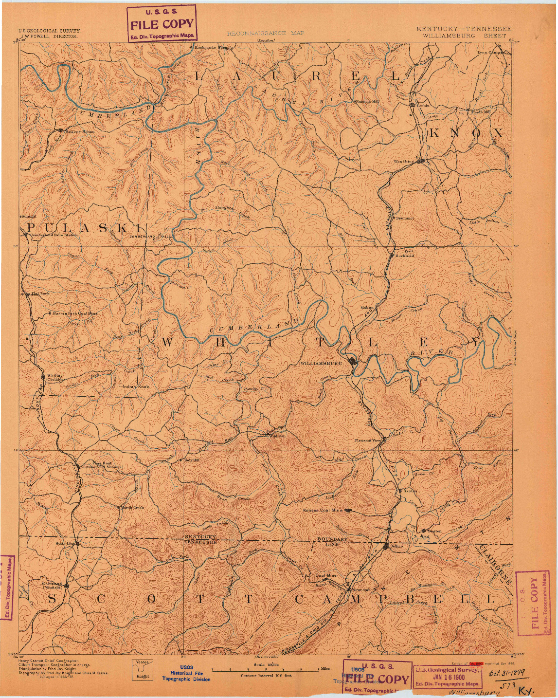 USGS 1:125000-SCALE QUADRANGLE FOR WILLIAMSBURG, KY 1890