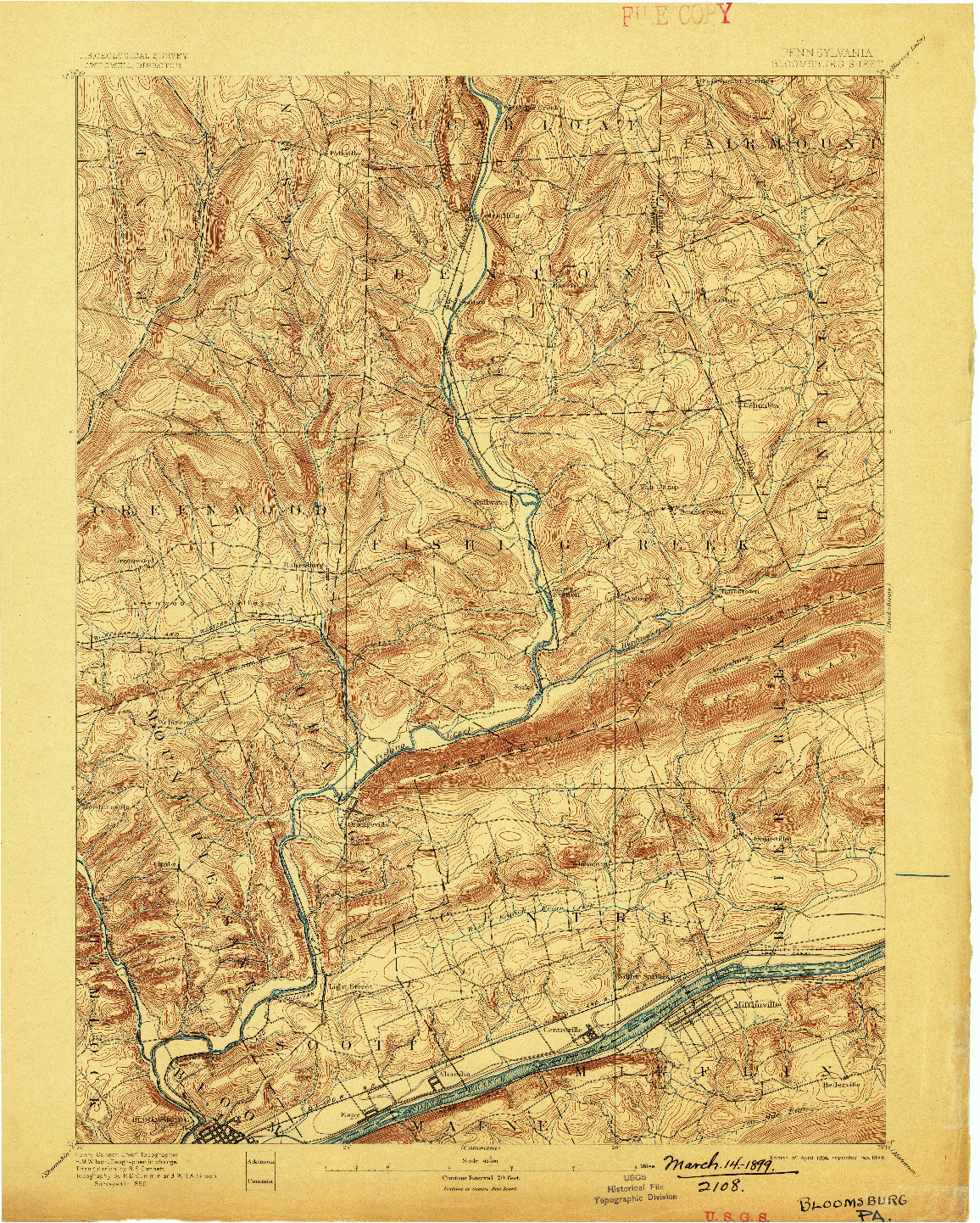 USGS 1:62500-SCALE QUADRANGLE FOR BLOOMSBURG, PA 1894