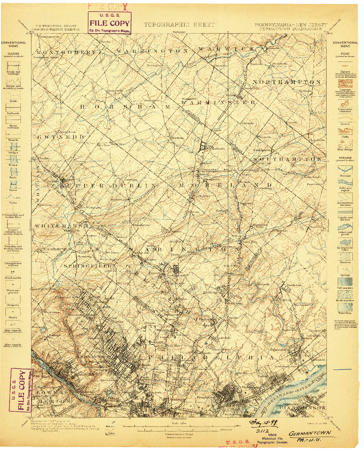 USGS 1:62500-SCALE QUADRANGLE FOR GERMANTOWN, PA 1899