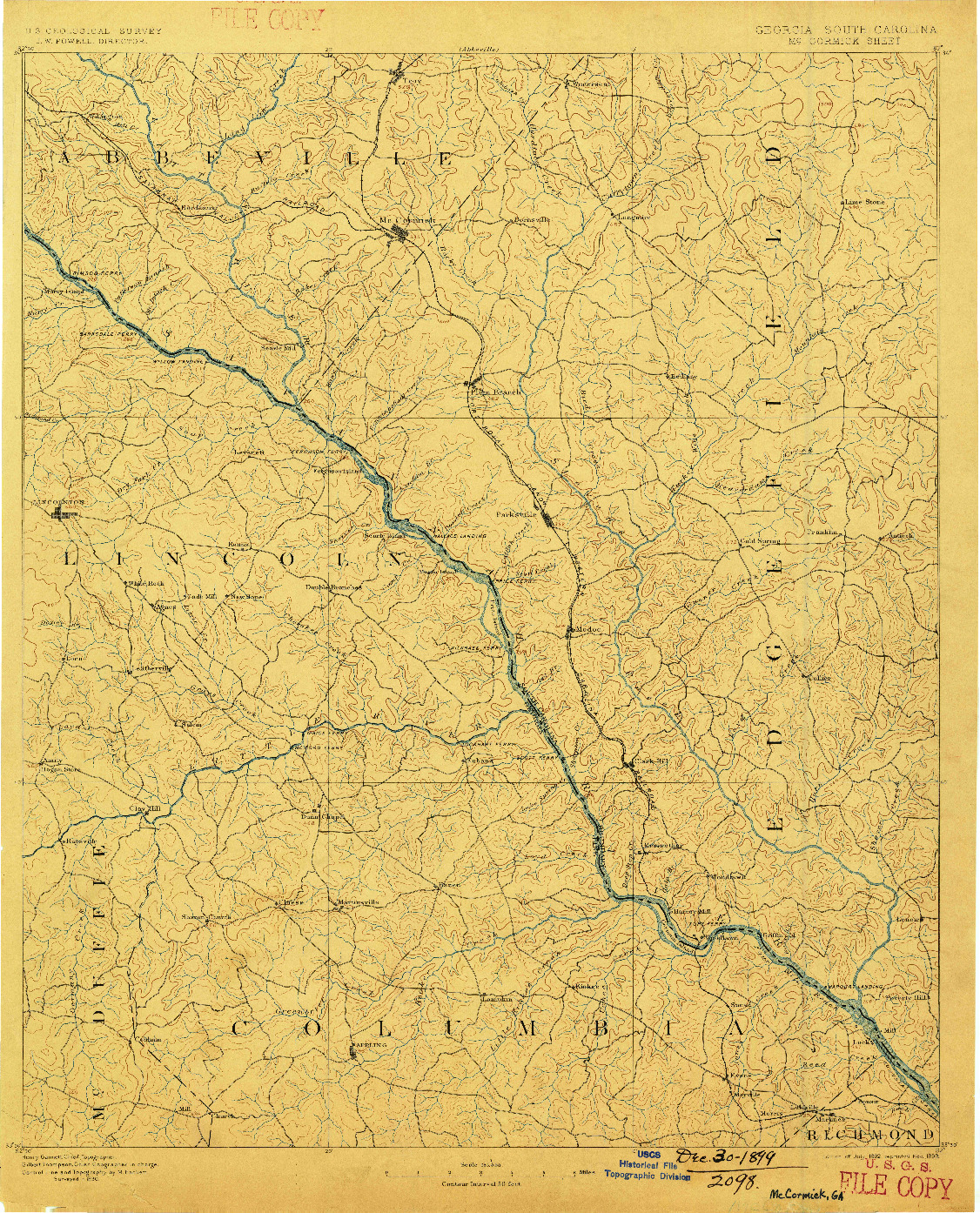 USGS 1:125000-SCALE QUADRANGLE FOR MC CORMICK, GA 1892