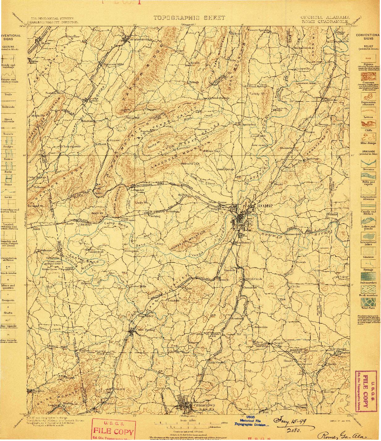 USGS 1:125000-SCALE QUADRANGLE FOR ROME, GA 1899