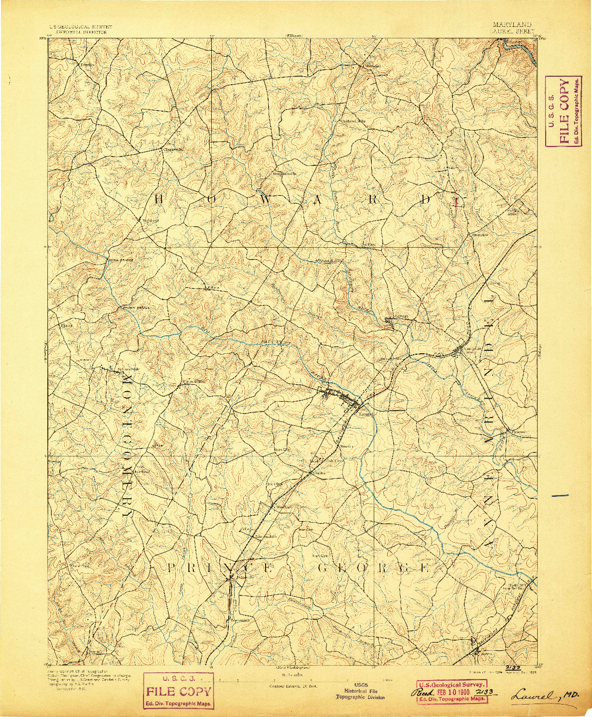 USGS 1:62500-SCALE QUADRANGLE FOR LAUREL, MD 1894