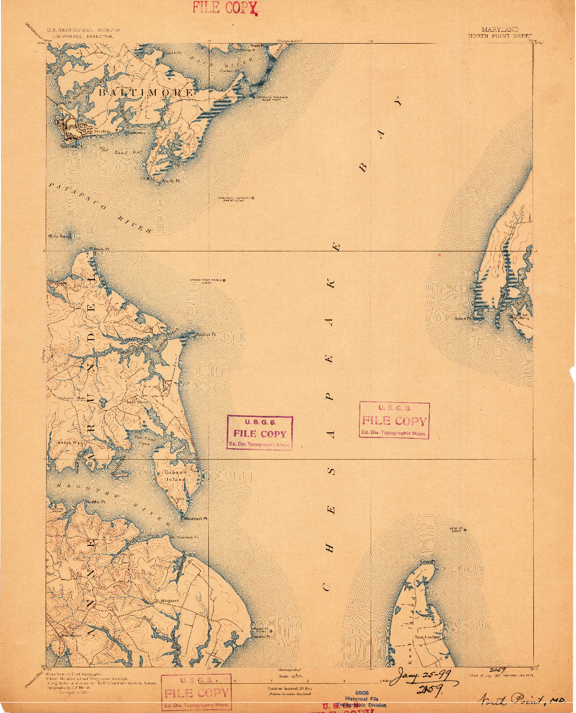 USGS 1:62500-SCALE QUADRANGLE FOR NORTH POINT, MD 1893