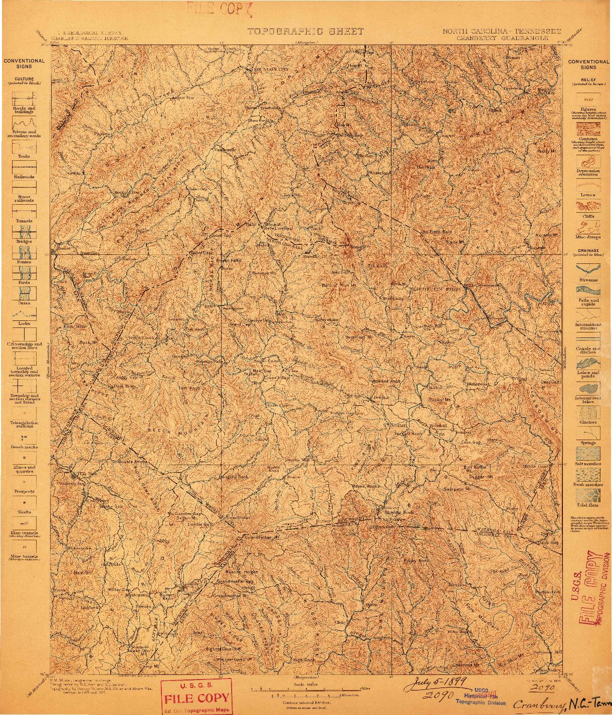 USGS 1:125000-SCALE QUADRANGLE FOR CRANBERRY, NC 1899
