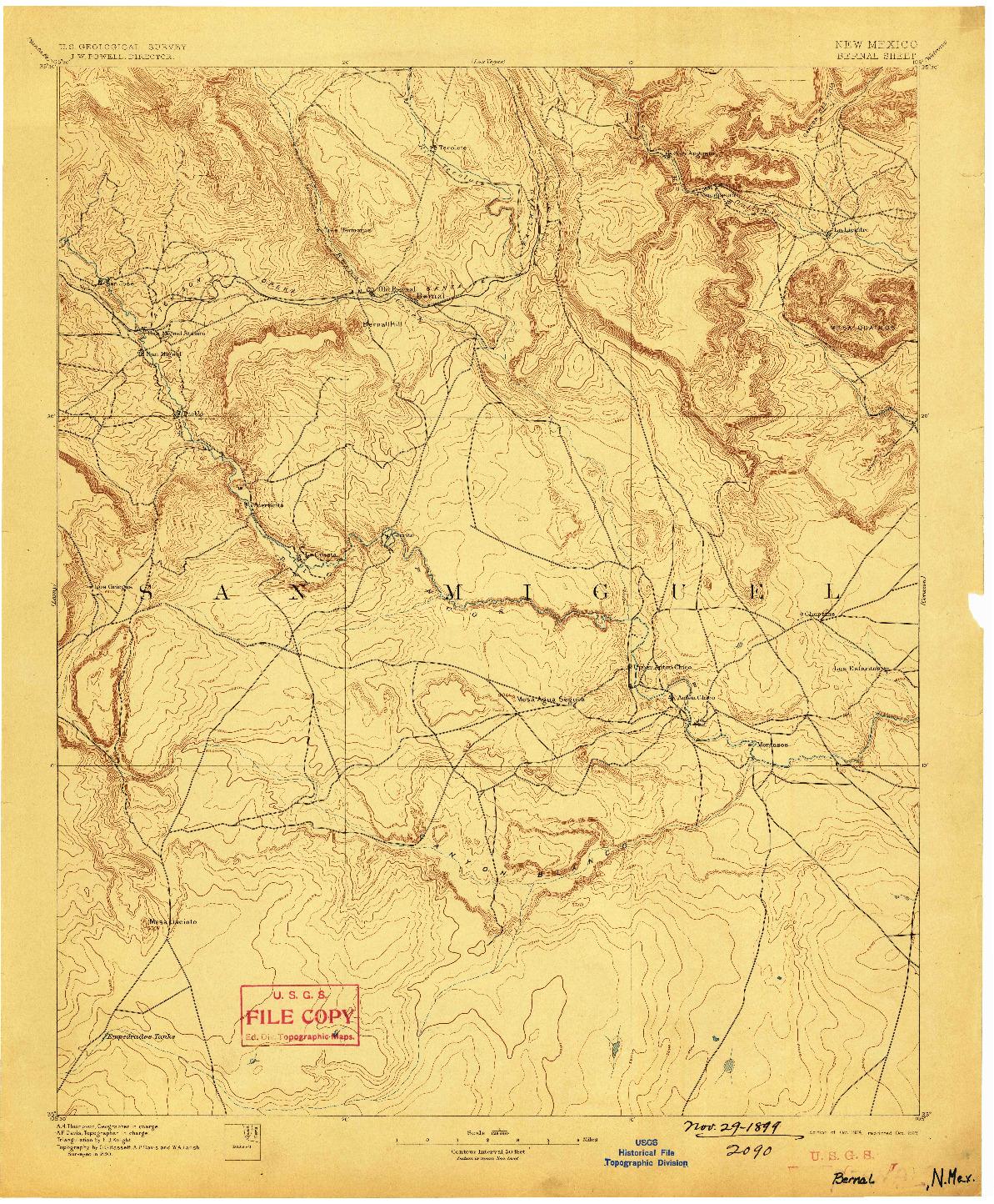 USGS 1:125000-SCALE QUADRANGLE FOR BERNAL, NM 1894