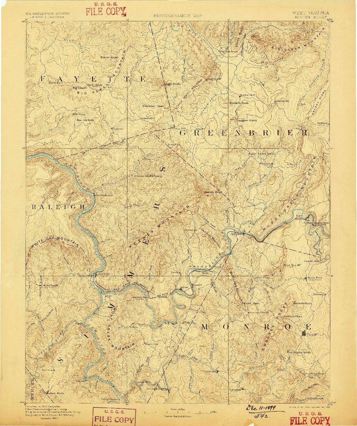 USGS 1:125000-SCALE QUADRANGLE FOR HINTON, WV 1892