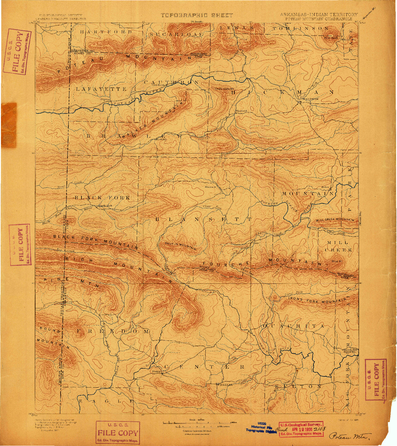 USGS 1:125000-SCALE QUADRANGLE FOR POTEAU MOUNTAIN, AR 1899