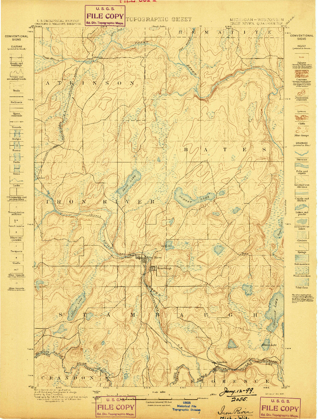 USGS 1:62500-SCALE QUADRANGLE FOR IRON RIVER, MI 1898
