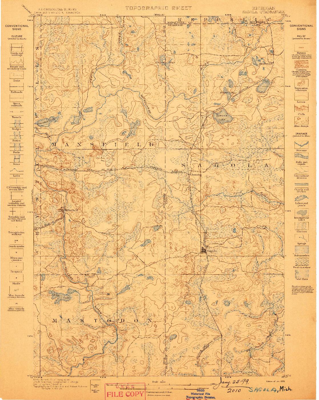 USGS 1:62500-SCALE QUADRANGLE FOR SAGOLA, MI 1899