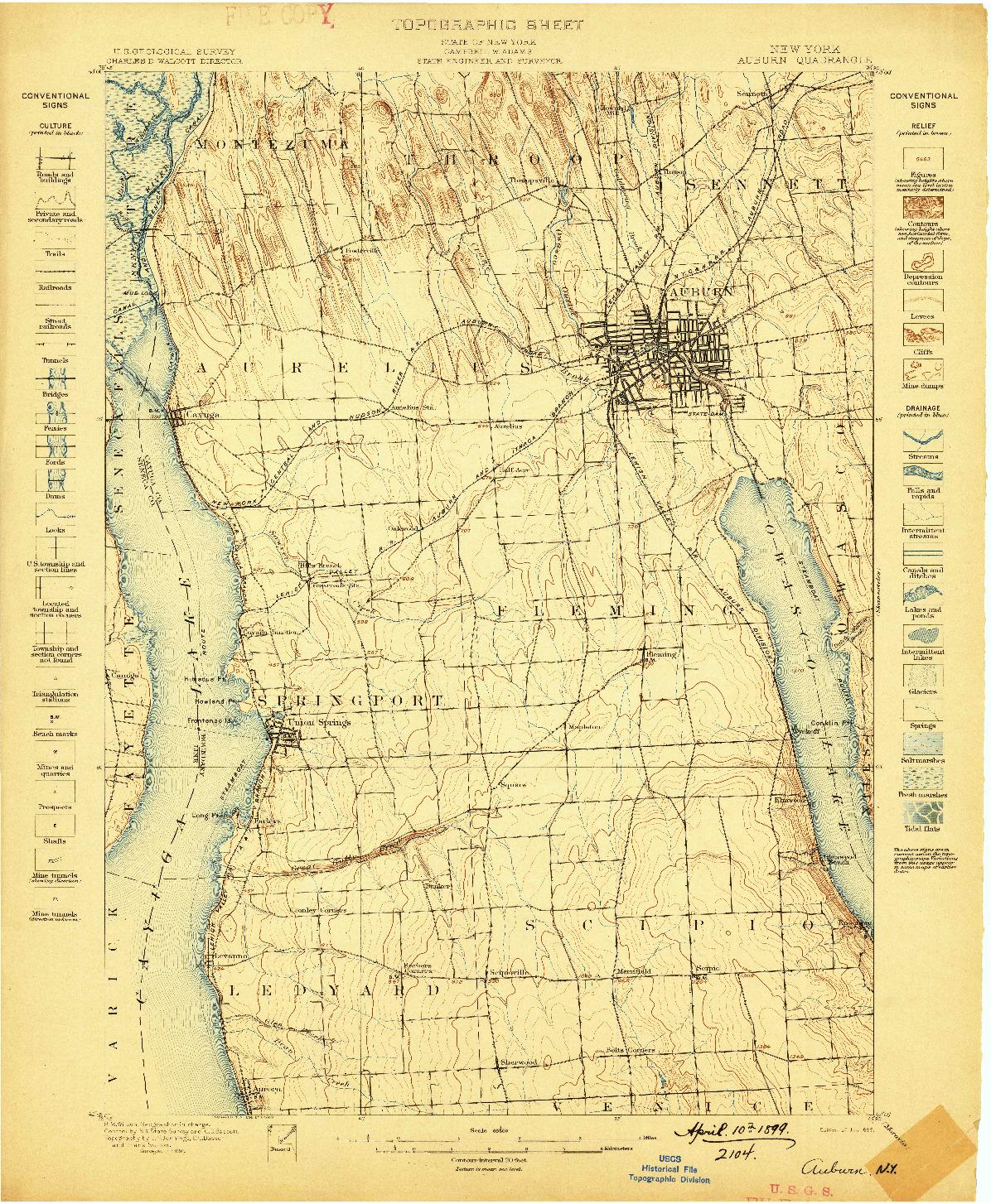 USGS 1:62500-SCALE QUADRANGLE FOR AUBURN, NY 1899