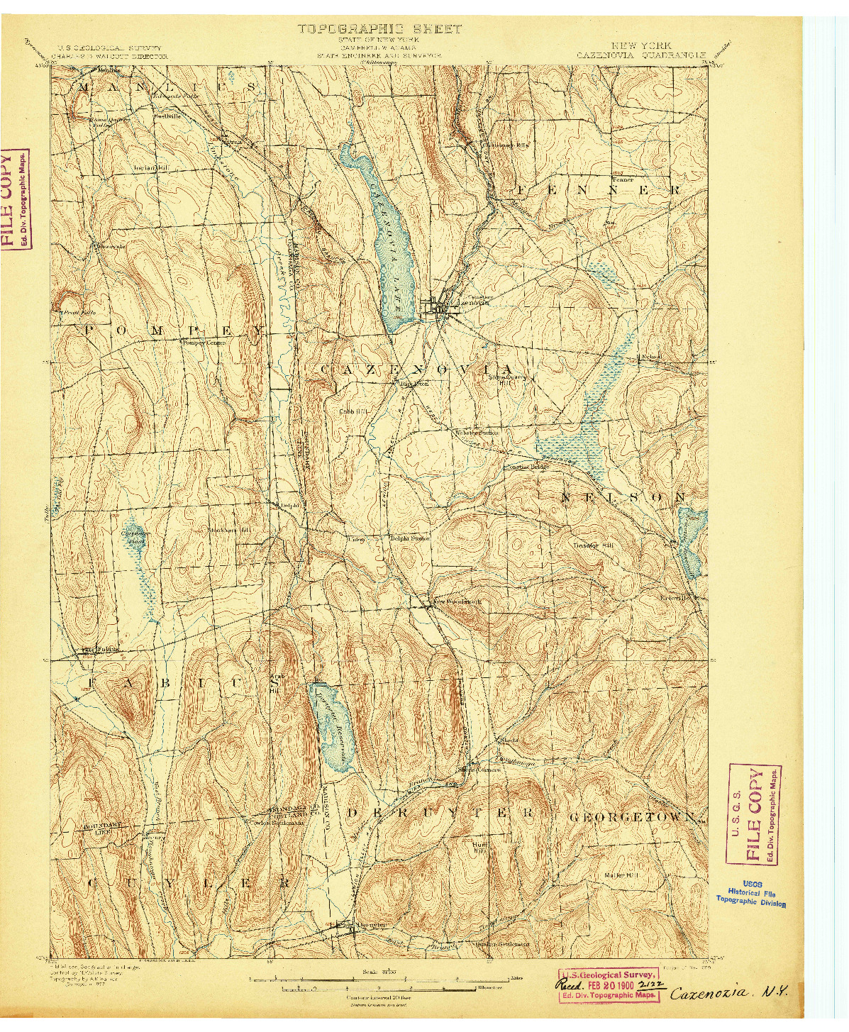 USGS 1:62500-SCALE QUADRANGLE FOR CAZENOVIA, NY 1899