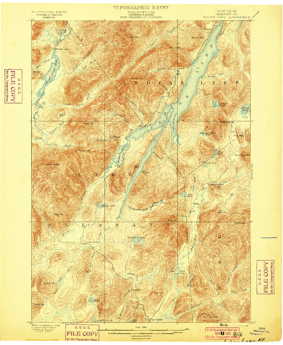 USGS 1:62500-SCALE QUADRANGLE FOR INDIAN LAKE, NY 1899
